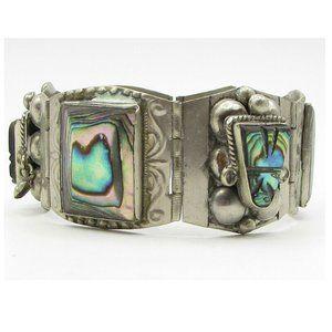 Vintage Tribal Art 925 Silver Abalone Bracelet